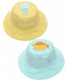 Cappello estivo reversibile protezione UV SPF 50+ - Pesce-Medusa