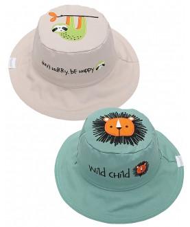 Cappello estivo reversibile protezione UV SPF 50+ - Leone-Bradipo