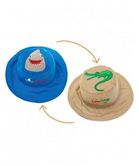 Cappello estivo reversibile protezione UV SPF 50+ - Squalo-Coccodrillo