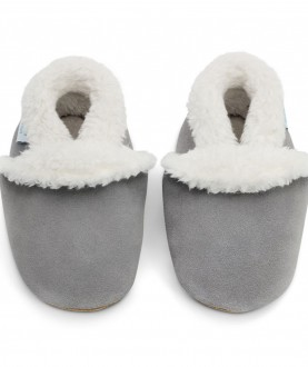 Babbucce Dotty Fish - Pale Grey Suede Slippers