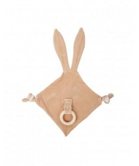 Doudou in cotone biologico con anello dentizione - Orecchie coniglio