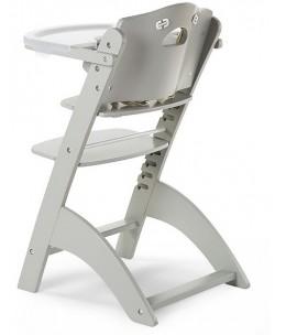 Seggiolone Evolutivo in Legno Lambda 3, Grigio Pietra - Diventa sedia normale, fino a 85Kg!