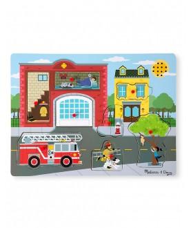 Gioco a Incastri in Legno con Effetti Sonori - Caserma dei Pompieri
